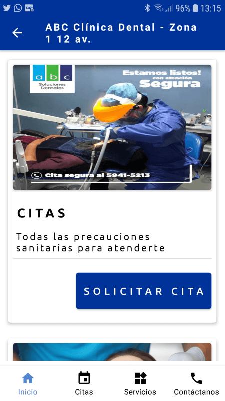 App Android de ABC Clínica Dental en Guatemala